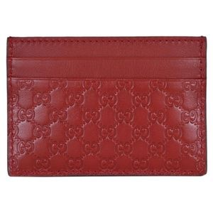 Red Gucci Guccissima Card Wallet
